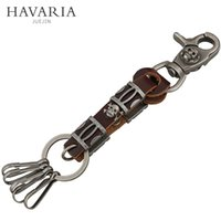 antique car toys - Skull Totem pole Keychain Novelty Toys Antique Copper Plated Keyrings Carabiner Car Keychain with Leather for Boys pkys