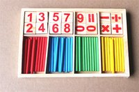 Wholesale 2016 New Baby Children Wooden Counting Math Game Mathematics Toys Kids Preschool Education Intelligence Stick Figures Box ZD023A