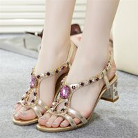 beef heel - 2016 Summer New Lady Set auger sandals whom with fashion Diamond crystal thick with beef tendon end beautiful shoes