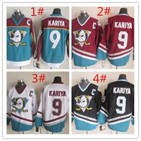 Cheap High quality Anaheim Cheap Hockey Jerseys Ducks KARIYA #9 red white black green drop shipping 1pcs freeshipping