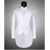 Wholesale Two piece White Black Men Wedding Suits Double Breasted Mens Tailcoat Peak Lapel Neck Mans Blazer Jacket Vest