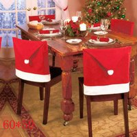 Wholesale New Year Red Santa Hat Dining Chair Covers Christmas Decorations
