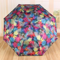 Wholesale Hot Sale Household Sundries Retro Oil Painting Butterfly Umbrella Anti uv Graceful Colorful Folding Parasols Rain Umbrellas