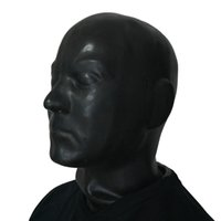 Wholesale Black Latex Rubber Gummi Hood Long Neck Head Cosplay Fetish Anatomical Male Mask Fetish Eye blind Mask Hood