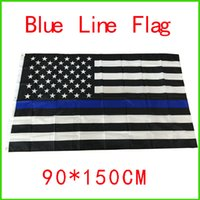 Wholesale BlueLine usa Police Flags By Foot Thin Blue Line USA Flag Black White And Blue American Flag With Brass Grommets