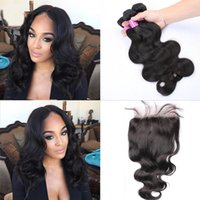Wholesale Grade A Brazilian Virgin Hair Body Wave Bundles Hair Weave with Closure Get One Free Human Hair Closure Piece Size x4