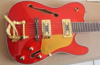 Wholesale Rare Hybird Jazz Guitar Teleer Paul Waller Orange TELE Electric Guitar Semi Hollow Body F Hole Bigs Tremolo Bridge Ebony Fingerboard