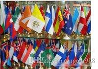 Wholesale 100 style CM Euro Cup handhold cheering football team flag Polyester Flag French flag Australia Flag Parade Flag E1045
