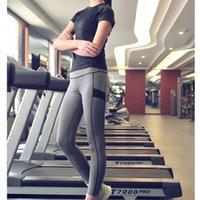 Wholesale Women Elastic Black Yoga Clothing Set Suit Fitness Gym Running Shirts Pants Training Compression Set S143