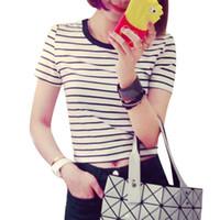 Cheap 2016 Summer Korean Ladies T Shirts Black Gray Striped Simple Tees Women Shirts Crop Top Casual Cropped T Shirt Cute Women Clothing