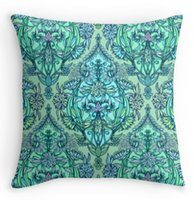 aqua pillows - Amazing Botanical Moroccan Doodle Pattern in Mint Green Lilac Aqua Home Soft Throw Pillowcase Square Invisible Zip Pillow Cover