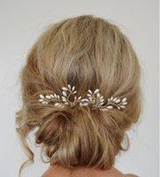 Wholesale Wedding Hair Jewelry Fashion Women Elegant All match High Quality Imitation Pearls Leaves Hairpins SHR447