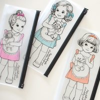 Wholesale Cute Sweet PVC Pencil Case Beautiful Girl Kawaii Cartoon Pen Bags For Student Gift School Supplies