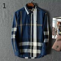b shirts - New brand of men s shirts b home grid stripe long sleeve lapel man s shirt cotton leisure men s shirt size M European XXXL men