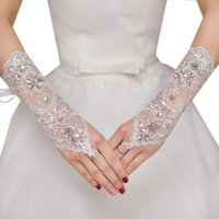 Wholesale Women s Short Lace White Beaded Bridal Wedding Accessories Cheap Fingerless Bridal Gloves