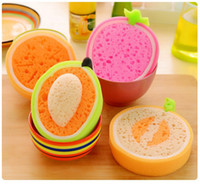 Wholesale Cleaning Cloth Sponge Scouring Pad Wipping Rags Washing Towel for Pad Dish Bowls Strong Decontamination Kitchen Tool Cute Fruit