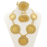 Wholesale Ethiopia Dubai jewelry K gold plated jewelry sets female gift Antique Coin Earring Sets Necklaces Bracelets Rings Sets Free