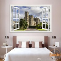 beautiful nature scenery - 3D Window Scenery Wall Sticker Europe Castle Construction Beautiful Landscape Wallpapers Vinyl Mural Art Home Decal Decor quot X28 living room