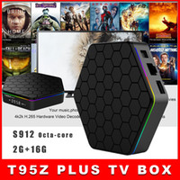Wholesale 10pcs New T95Z PLUS Android TV BOX S912 Octa core cortex A53 G G Android G G Dual band WiFi Bluetooth KODI mart Media Player