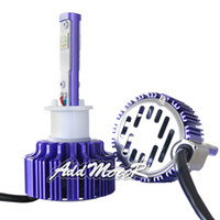 Wholesale Addmotor Auto LED Headlight Bulbs w Clear Arc Beam Kit x Plug Play W LM CREE LED H1 K Cool White LED Headlamp Purple AP0H1
