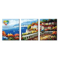 baby toy bar - Coastal City DIY Painting Baby Toys x120cm Artistical Canvas Oil Painting Kids Drawing Toys Set for Bar