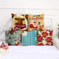 Eco Friendly automotive cushion - European Merry Christmas Series Mianma sofa cushions pillowcases automotive waist pillowcases Bed Pillow Cover Christmas tree Pillow case