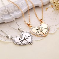 best friends wholesale - Two Splicing Necklace Broken Heart Pendant Necklace Jewelry Best Friend Necklace Best Quality for Lovers Friends