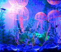 Wholesale Glowing Effect Artificial Silicone Vivid Jellyfish Fish Tank Decor Aquarium Decoration Ornament