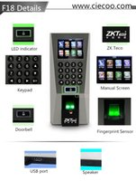 Wholesale ZK F18 Fingerprint Door Access Control and Time Attendence Security System Door locks