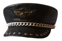 Wholesale Punk Rock Show Rivet Navy Hat Motorcycle Club Eagle Badge Sheepskin Leather Hat Genuine Leather Hat Props