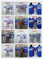 angeles kids - Kids Stitched MLB Los Angeles Dodgers Kershaw Kemp Pederson Puig Gonzalez Blank White Blue Gray Baseball Jerseys Mix order