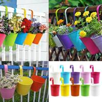 barrel plant pots - Colors Iron Hanging Flower Pots Garden Plant Hanging Barrels Pastoral Balcony Decor Flower Tub Home Decoration