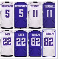 Wholesale NIK Elite Football Stitched Vikins Bridgewater Treadwell Smith Peterson Patterson Diggs Barr Purple White Elite Jerseys