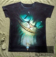 Wholesale Track Ship New Vintage Retro T shirt Top Tee Smile Tooth Ghost Cheshire Cat Alice Alice s Adventure in Wonderland