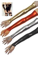 Wholesale Color Women Sexy Shiny Leather Latex Long Gloves Exotic Clubwear Hip Hop DJ Beat Drum Fingerless Gloves Accessories