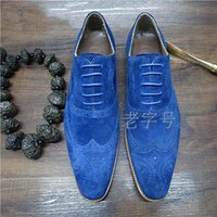 bespoke shoes - Luxury Bespoke mens goodyear oxfords shoes navy blue tuxedo shoes mens dress shoes Italian handmade formal male wingtip shoes