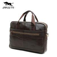 Wholesale CROSS OX Genuine Leather Brown Men Briefcase quot Laptop Business Bag Cowhide Men s Messenger Bags Luxury Lawyer Handbags HB387F
