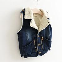 baby boy denim vest - Children Jean Vest Kids Girls Denim Plus Velvet Waistcoat Baby Boy Girls Coat Outwear Prince