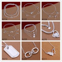 Wholesale Butterfly heart shape silver Necklace pieces a mixed style burst models women s gemstone sterling silver Necklace EMP48