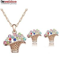 american gift baskets - Fashion Flower Basket Jewelry Sets With Necklace Pendant Earring Austrian Crystal Wedding Jewelry Colors Options ST0007