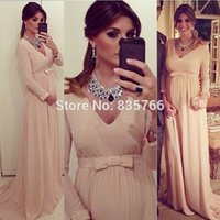 Wholesale Hot Sale Sexy V Neck Elegant Long Sleeve robe soiree longue Chiffon Pregnant Evening Dress Custom Made Soft Long Formal Gowns