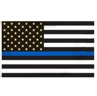 Wholesale 3 By Foot Thin Blue Line Flag Honoring Our Men And Women Of Law Enforcement Black White And Blue American Flag With Brass Grommets