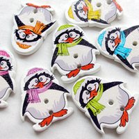Wholesale New Penguin Wood Buttons Holes Sewing Craft mm