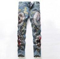 Wholesale Personality designer men s fashion denim pencil pants Patchwork slim straight jeans men s ripped slim pants male fog jeans