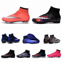 Wholesale Children soccer cleats Kids Boys Superfly CR7 FG Football Boots Men High Top Indoor Turf Soccer Shoes women Girls Outdoor Cleats size