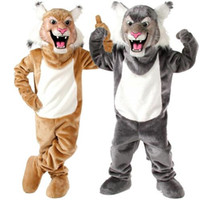 Wholesale Hot selling Grey Tan Wildcat Bobcat Mascot Costume for Halloween Christmas Party Costume Character Outfit Fancy dress