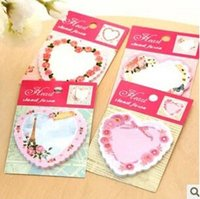 Wholesale cute cartoons floral cake hearts shaped notepad memo pad sticky notes markers kawaii post it note papelaria