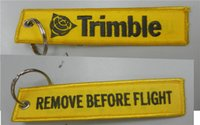 Wholesale Trimble Remove Before Flight Custom Made Fabric Embroidered Key Tags x cm