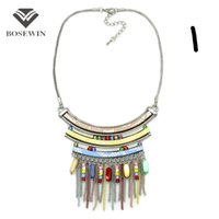 Wholesale Women Bohemia Accessories Statement Necklace For Women fashion Leather Silver Chain Acrylic Tassel Pendant Choker New Maxi Jewelry