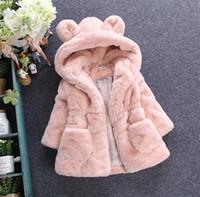 Wholesale Free EMS New Winter Girls Baby Fashion Fur Coats Thickening Princess Coat Hoodies Zipper Long Sleeve Coat Children Winter Coats Color